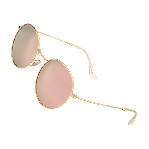 con UV400 Vintage polarizadas Redondo Dorado Rosa protección sol MFP7 Espejo GQUEEN de 3 gafas n0zfw1xqB