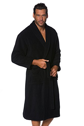[JP 1880 Men's Big & Tall Soft Cotton Toweling Bathrobe Dressing Gown Black XXXXXXX-Large 702388 10] (Tall Terry Cloth Robes)