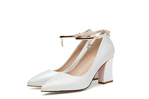 NEB ANGEL Women's Ankle Strap Pumps Chunky Heel Pumps Shoes