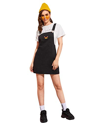 Floerns Women's Strap Bib Pocket Denim Pinafore Overall Dress Black XL