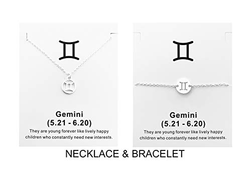 Your Always Charm Zodiac Necklace and Bracelet 12 Constellation Silver Zodiac Jewelry Set Birthday Gifts for Women (Gemini) (Best Gift For Gemini Woman)