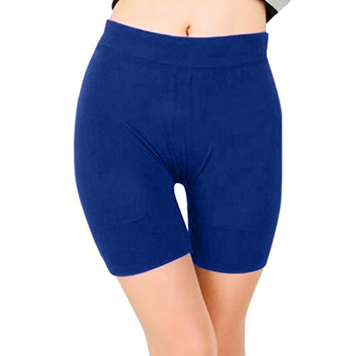 Adeliber Women's Yoga Shorts Fashion Solid Color Buttons Running Sports Fitness Riding Tights Shorts Blue