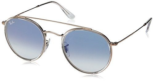 Ray-Ban RB3647N Round Double Bridge Sunglasses, Cooper/Blue Gradient, 51 ()