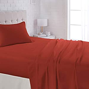 Amazon Basics Lightweight Super Soft Easy Care Microfiber Bed Sheet Set with 16″ Deep Pockets – Twin, Red