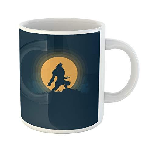 Emvency Funny Coffee Mug Blue Cartoon Werewolf Silhouette Halloween Night Moonlight Ghost Horror Scene Animal 11 Oz Ceramic Coffee Mug Tea Cup Best Gift Or Souvenir]()
