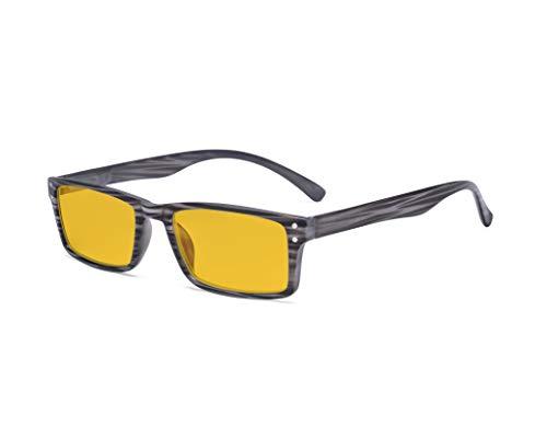 Eyekepper Blue Light Blocking Glasses - Anti Digital Glare Eyewears with Amber Tinted Filter UV Protection Computer Eyeglasses Men Women - Grey Stripe