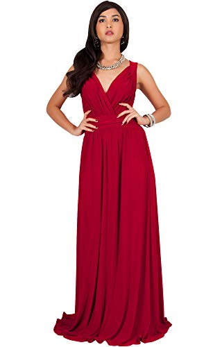 Maxi Dress Gown (KOH KOH Plus Size Women Long Sleeveless Flowy Bridesmaids Cocktail Party Evening Formal Sexy Summer Wedding Guest Ball Prom Gown Gowns Maxi Dress Dresses, Red 2X 18-20 (3))