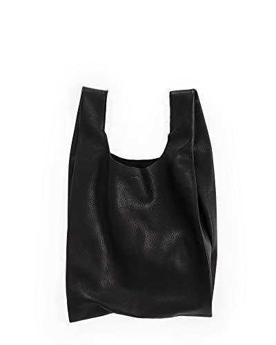 BAGGU Standard Leather BAGGU Bag, Regular Reusable Leather Bag, Black