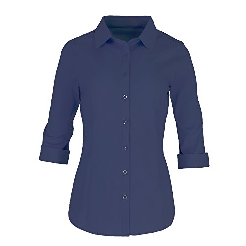 Pier 17 Women's Button Down Shirts Tailored 3/4 Sleeve Shirt, Stretchy Material (X-Small, - At Pier The Shops