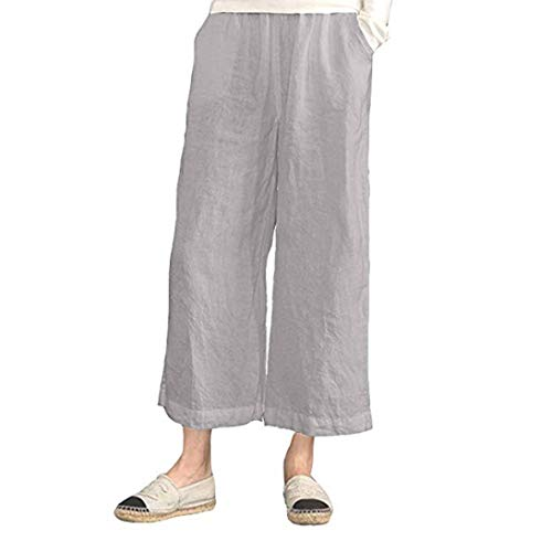 FEITONG Women's Elastic Waist Cotton Linen Causal Trousers Cropped Wide Leg Pants(2XL,Khaki) (Corduroys Cotton Flare)