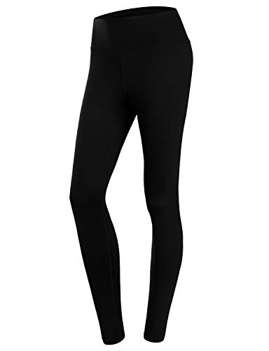 Pants Yoga Meditation (Doublju Womens Active High Waist Tummy Control Workout Long Yoga Pants Plus Size Black 2XL)