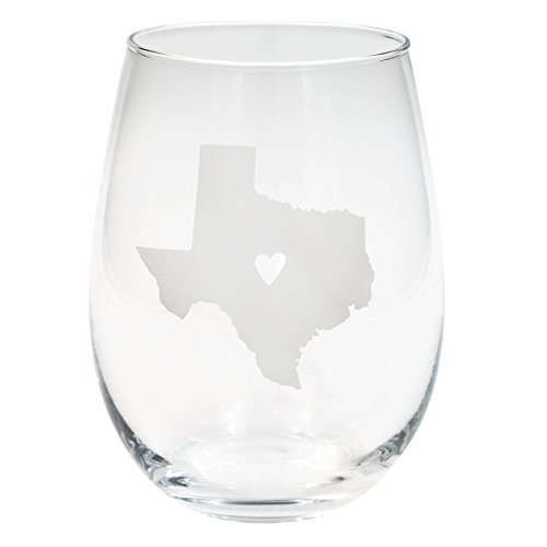 Texas Wine (About Face Designs 186722 State of Texas Stemless Wine Glass (Set of 2), 16 oz, Clear)