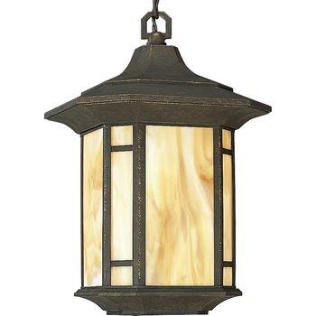 Progress Lighting P5528-46 1-Light Post Lantern with Honey Art Glass and Mica Accent Panels, Weathered Bronze