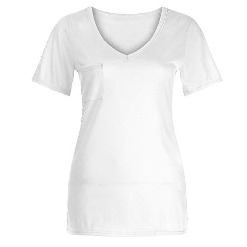 Col Blouse Poachers shirt Solides Femme Eté Manche T Shirt Chic Blanc Courte Tee Casual V Shirt Tops OrwPYW4rq