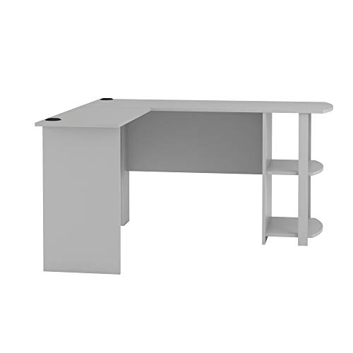 Ameriwood Home Dakota L-Shaped Desk with Bookshelves, Dove -