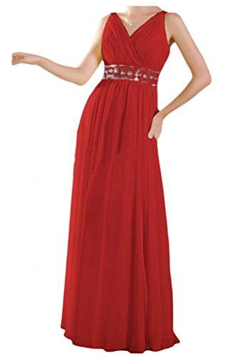 Toscana novia dibujos V-cuello gasa por la noche fiesta de dama de honor vestidos de bola Prom vestidos de largo Rojo