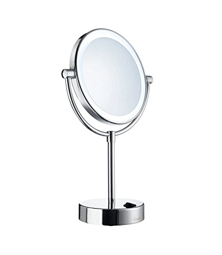 Smedbo FK474E Led Dual Lighted/2 Sided 5X Magnification and Normal Make-Up Mirror, -