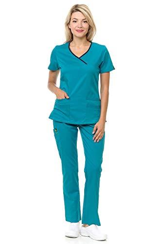 Citron Collection Soft Y-Neck Medical Uniform Scrub Set for Women Teal