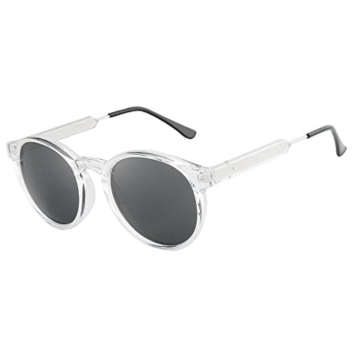 HDCRAFTER Classic Vintage Circle Frame Sunglasses for Men Women - Clear Sunglasses Frame Round