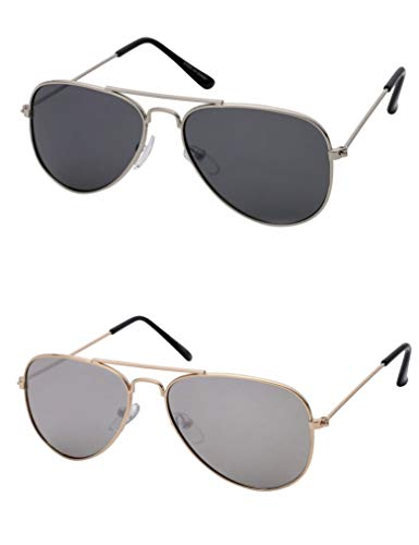 Kids Aviator Sunglasses For Boys And Girls Glasses Silver Lens Black Bulk ()