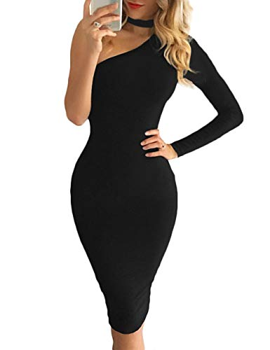navvour Women's One Shoulder Sleeveless Choker Bodycon Pencil Midi Party Dress Black