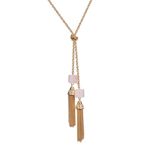 Fettero Natural Stone Rose Quartz Cube Simple Thin Knot Handmade Double Metal Tassel Necklace for Women Gold Plated Pendant Bohe Long Chain Statement Jewelry