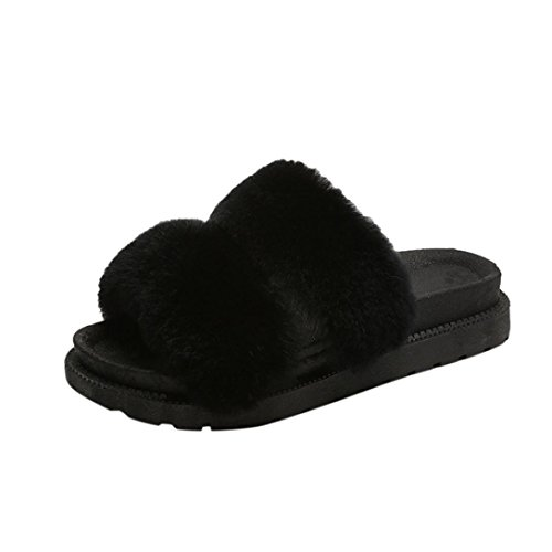 Pulison(TM)Womens Ladies Fluffy Faux Fur Flat Slipper Flip Flop Sandal with Pearl Shoes Black