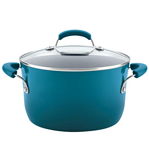 Rachael Ray Classic Brights Hard Enamel Nonstick Covered Stockpot, 6-Quart, Marine Blue Gradient