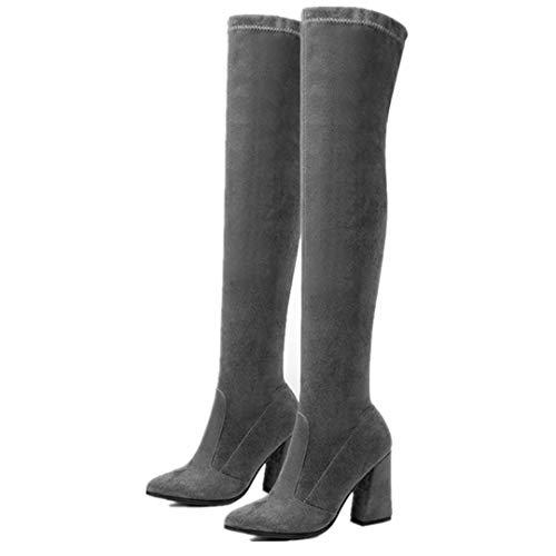 Nieve Pie Del La Mujeres Armada Acentuado Botas Tacón Rodilla Sobre De Altas Alto Dedo Zapatos Elegantes Moda Invierno 5806Bq0xw