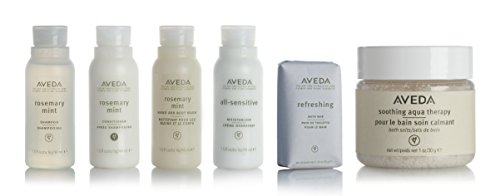 (Aveda Amenities Luxury Travel Set- 1 Shampoo, 1 Conditioner, 1 Hand and Body Wash, 1 Moisturizer (1.5ounce) 1 Bath Bar Soap (1.25ounce) 1 Bath Salts. In Clear Travel Pouch)