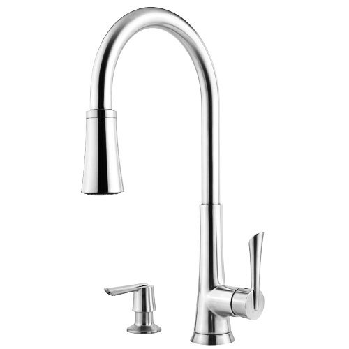 Pfister Mystique 1-Handle Pull-Down Kitchen Faucet with Soap Dispenser, Polished Chrome - Price Pfister Chrome Soap Dispenser