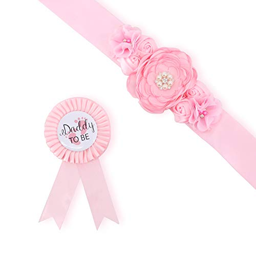 Baby Pink Maternity Sash & Daddy to Be Corsage Set - Baby Shower Sash Baby Girl Pregnancy Sash Keepsake Baby Shower Flower Belly Belt