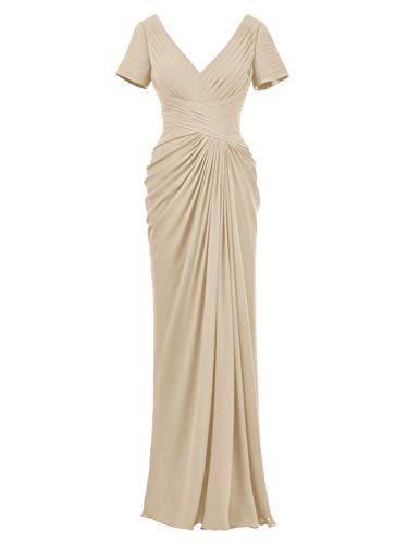 Alicepub Chiffon Evening Formal Gown Long Mother of The Bride Dress with Sleeve, Champagne, US14 (Mother Of Bride Long Dresses With Sleeves)