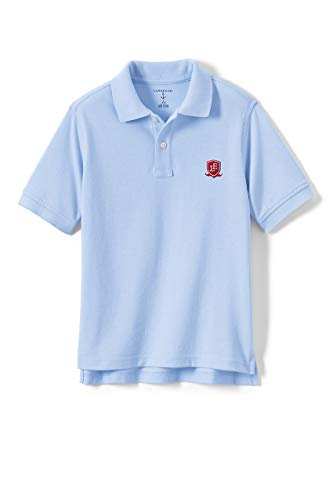 Lands' End Logo Little Kids Short Sleeve Performance Mesh Polo, M, Blue