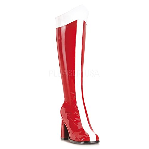 Funtasma by Pleaser Women's Halloween GOGO-305,Red/White Stretch Patent,8 M