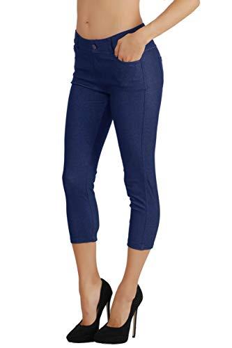 Fit Division Women's Jean Look Cotton Blend Jeggings Tights Slimming Full Lenght Capri Bermuda Shorts Leggings Pants S-3XL (2X US Size 16-18, FDJN817-DBL)