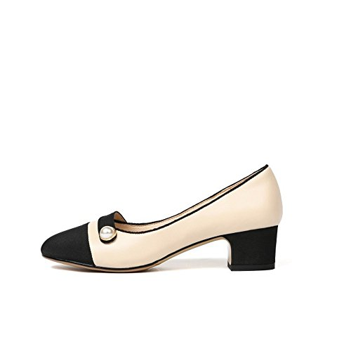 de Tal Zapatos Mediados Redonda de Sandalias Superficial Cuero de Boca QXH de Cabeza Mujer SZZ7q