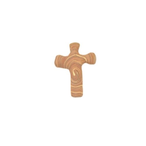 Hand Held Comforting Clay Cross with Greeting Card - Shaped To Fit Any Hand - 5