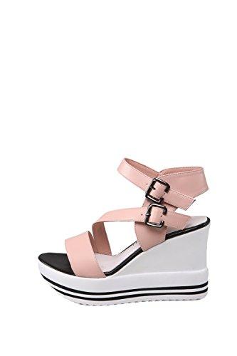 Buckle Pink Womens High Toe Heels Soft AllhqFashion Leather Solid Open Sandals Oqdwavx0x