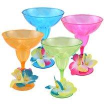 Set of 4 Luau Hibiscus Margarita Cups