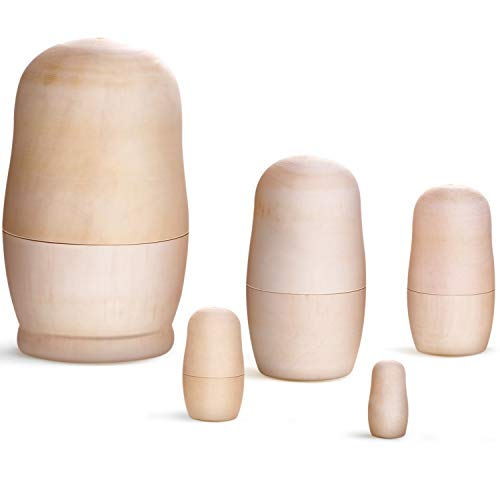 (Zhehao 2 Sets of Wooden Nesting Dolls Blank Russian Dolls Wooden Craft Dolls for Easter Party)