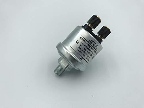 (KUS Mechanical Oil Pressure Sensor For Generator 0-10Bar NPT1/8 Thread 0.8Bar Alarm White zinc plated (KE21103))
