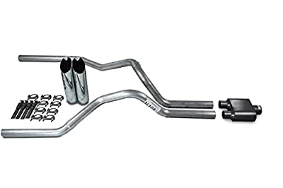 "Truck Exhaust Kits - Shop Line dual exhaust system 2.5 AL pipe 1 chamber muffler 2.5"" Chrome Slash Cut Weld on Tip"