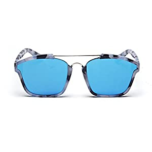 SojoS Square Fashion Women Mirrored Lens Abstract Sunglasses SJ2003 With Blue Frame/Blue Lens