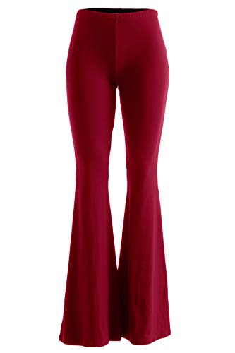 (Fashionomics Womens Boho Comfy Stretchy Bell Bottom Flare Pants (3XL, Ruby))