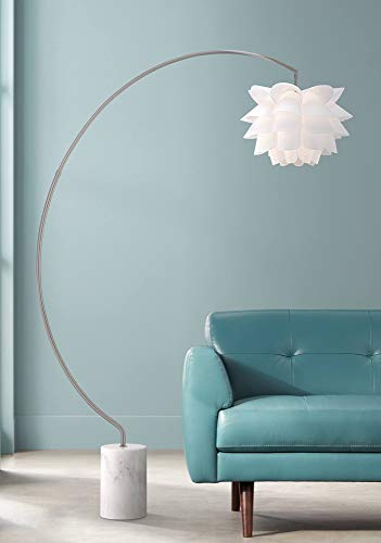 Lamp Acrylic Shade Floor (Modern Arc Floor Lamp Satin Nickel White Flower Shade for Living Room Reading Bedroom Office)
