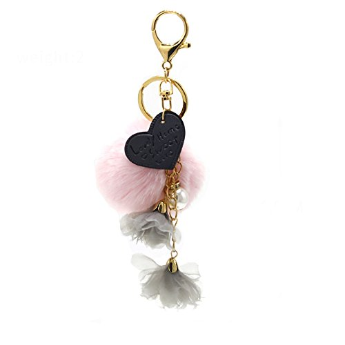 Shaped Ball Keychain - SUPPION Heart-shaped Tassel Fur Ball Keychain Bag Plush Car Key Ring Car Key Pendant (Pink)
