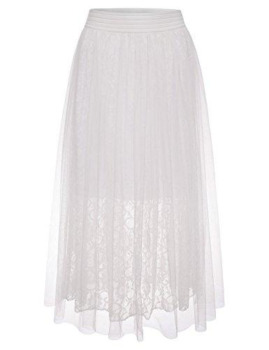 NEARKIN (NKNKWLSK61 Lady Petticoat Tutu Organza Floral Laced Midi Skirt White US L(Tag Size L)