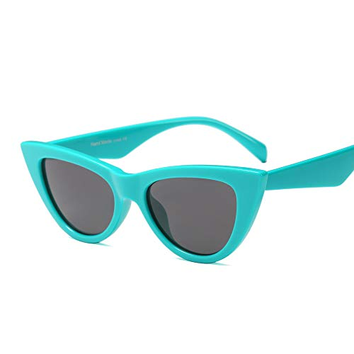 Vintage Retro Women Cateye Sunglasses Clout Goggle Inspired Fun Colorful Shades (Turquoise Green)