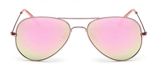 WODISON con bolsa UV400 de Gafas rosada Protección Lente Polarized para mujer Metal sol Aviator Frame zqzB7rxwP